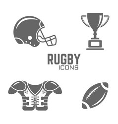 american football or rugby black icons vector image