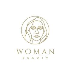 Artistic beauty woman logo design with line art vector