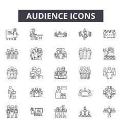 audience line icons for web and mobile design vector image