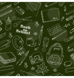 Back to School doodles seamless pattern on a green vector image