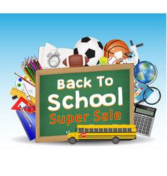 back to school sale chalkboard education object vector image
