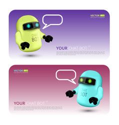 banner with chat bot vector image
