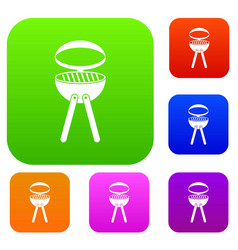 barbecue grill set color collection vector image