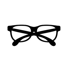 black silhouette graphic with oval glasses lens vector image