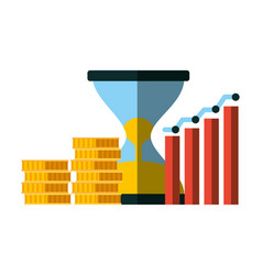 Business hourglass chart and coins money vector