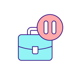 Business suitcase and pause sign rgb color icon vector