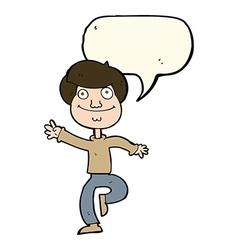 Cartoon dancing man with speech bubble vector