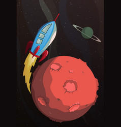 cartoon rocket flying in space vector image