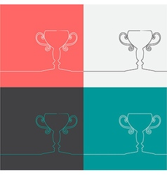 Champion cup icons vector