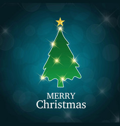 christmas card with tree blue background vector image