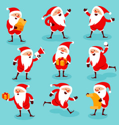 christmas santa poses an actions vector image