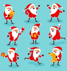 christmas santa poses an actions vector image