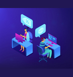 Cold calling isometric 3d concept vector
