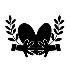 contour hands with heart and branches with leaves vector image