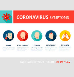 coronavirus symptoms infographic 2019 ncov vector image