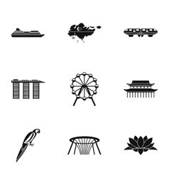 Country singapore icons set simple style vector