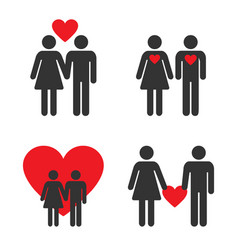 couple icon set with heart love between man vector image