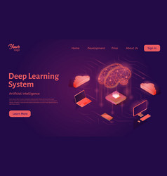 Deep learning system landing web page template vector