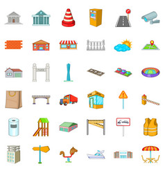 Different city icons set cartoon style vector