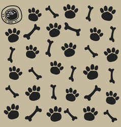 Dog trail and bone pattern seamless vector