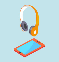 Earphones and smartphone modern stereo equipment vector