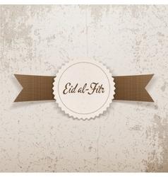 Eid al-fitr realistic textile emblem with ribbon vector