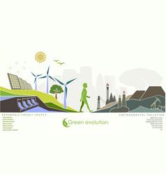 Evolution of renewable energy concept of greening vector