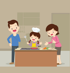 family and daughter cooking vector image