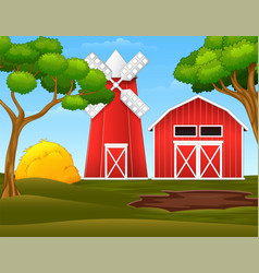 Farm landscape with red shed and windmill vector