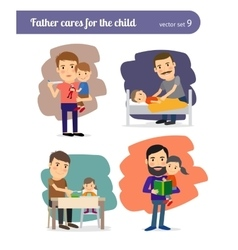 Father cares for the child vector