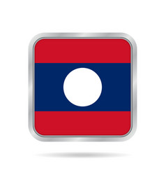 Flag of laos shiny metallic gray square button vector