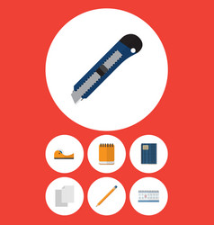 Flat icon stationery set of copybook knife vector