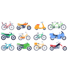 flat motorbikes motorcycles bikes and scooters vector image