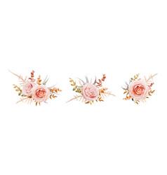 Floral bouquet design blush peach roses fall leaf vector