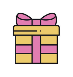 Gift box with ribbon in line style present vector