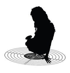 Girl show center on target silhouette vector