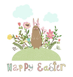 happy easter graphic poster with bunny vector image