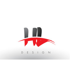 Hl h l brush logo letters with red and black vector