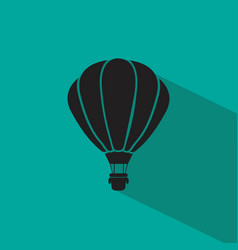 hot air balloon icon flat style with shadows vector image