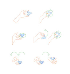 human hands holding spinner tricks set vector image