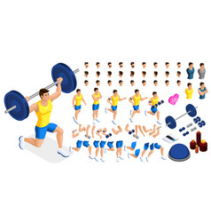 Isometrics create your sporty inflated man vector