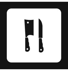 Kitchen knife and meat knife icon vector image