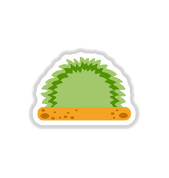 Labels with shadow flat icon grass and bush vector