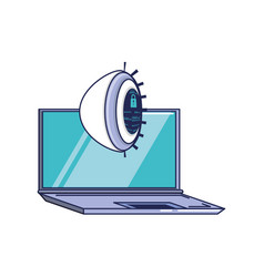 laptop computer with cyber security eye vector image