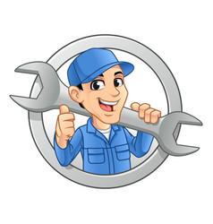 mechanic man logo holding huge wrench vector image