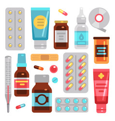 Medicine pharmacy drugs pills medicament bottles vector