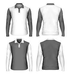 Mens long sleeve polo shirt vector