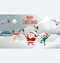 merry christmas holiday poster santa claus vector image