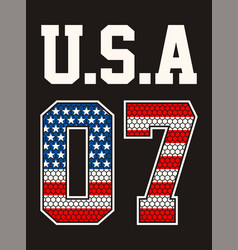 Numbers 07 athletic sport usa vector