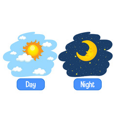 Opposite adjectives words with day and night vector